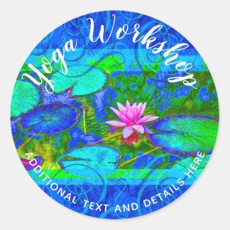 Adesivo Redondo Ioga bonita da flor de Waterlily Lotus