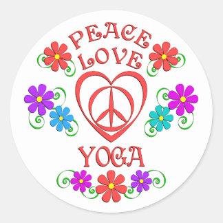 Adesivo Redondo Ioga do amor da paz