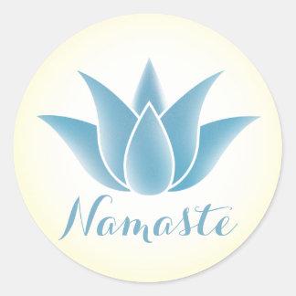 Adesivo Redondo Ioga Namaste da flor de Lotus azul