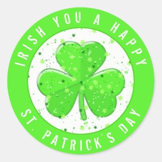 Adesivo Redondo Irlandês você trevo do verde do dia de um St
