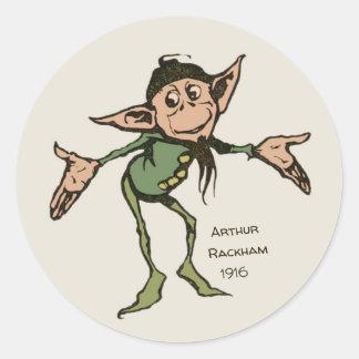 Adesivo Redondo Irmãos Grimm CC0995 do gnomo de Arthur Rackham