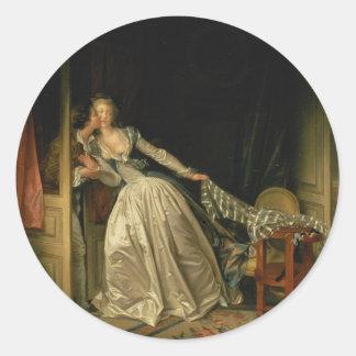 Adesivo Redondo Jean-Honore Fragonard - o beijo roubado - belas