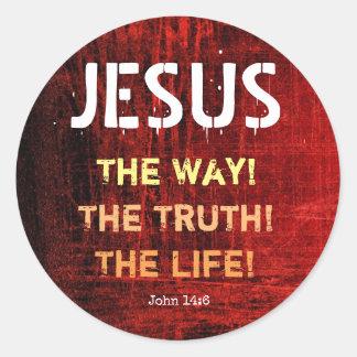 Adesivo Redondo Jesus a maneira a verdade o 14:6 de John da vida