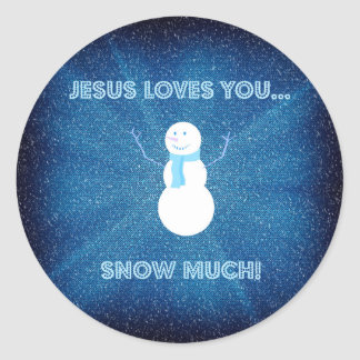 Adesivo Redondo Jesus ama-o neva muito! Azul cristão do boneco de