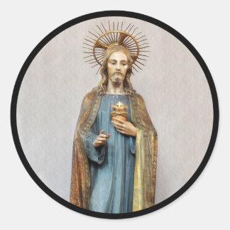 Adesivo Redondo Jesus que guardara o coração sagrado dourado