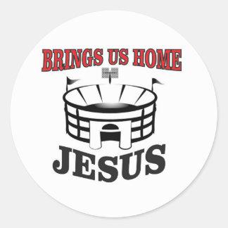 Adesivo Redondo Jesus traz-nos home