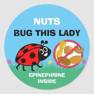 Adesivo Redondo Joaninha da epinefrina do alerta da alergia da