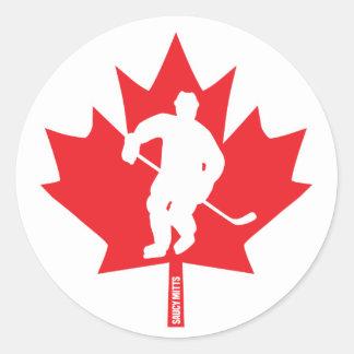 Adesivo Redondo Jogador da folha de bordo do hóquei de Canadá