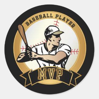 Adesivo Redondo Jogador de beisebol retro