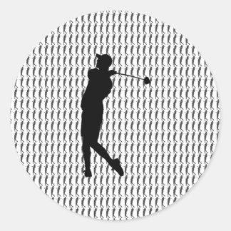 Adesivo Redondo Jogador de golfe