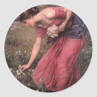 Adesivo Redondo John William Waterhouse - narciso - belas artes