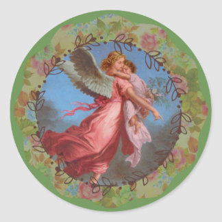 Adesivo Redondo Jovem criança do carregando do anjo-da-guarda