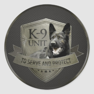 Adesivo Redondo K-9 unidade GSD - cão de german shepherd de
