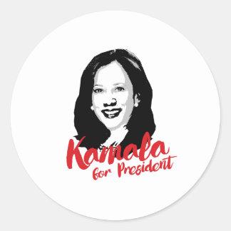 Adesivo Redondo Kamala para o presidente - caligrafia -