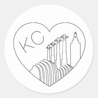 Adesivo Redondo Kansas City - linha minimalista coração da skyline