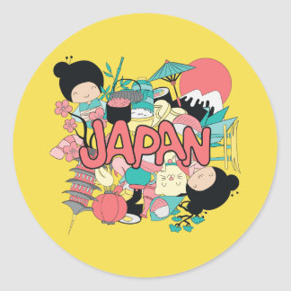 Adesivo Redondo Kawaii Japão bonito!