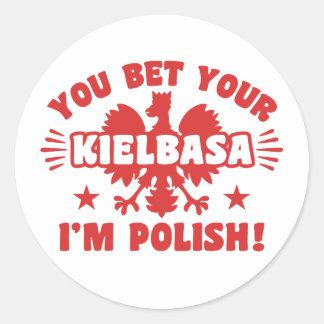 Adesivo Redondo Kielbasa polonês engraçado