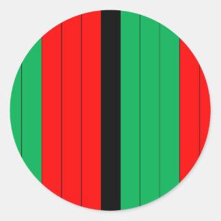 Adesivo Redondo Kwanzaa colore o teste padrão verde preto vermelho