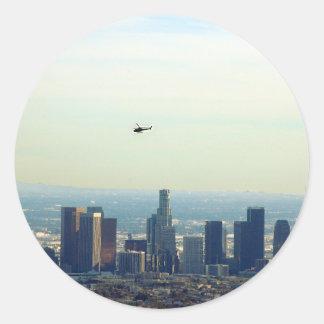 Adesivo Redondo LA e helicóptero