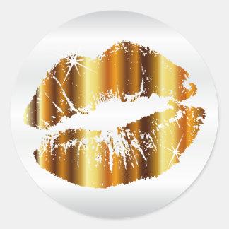 Adesivo Redondo Lábios metálicos do ouro