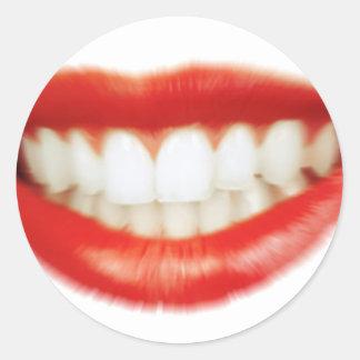 Adesivo Redondo Lábios vermelhos