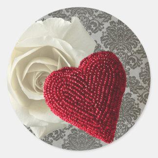 Adesivo Redondo Laço frisado do preto do rosa branco do coração