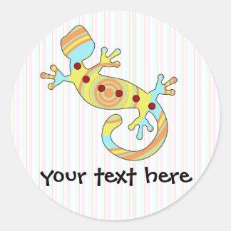 Adesivo Redondo Lagarto colorido do geco do divertimento
