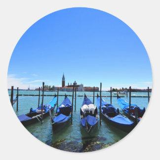 Adesivo Redondo Lagoa azul em Veneza, Italia