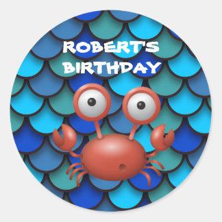 Adesivo Redondo Lagosta vermelha no azul sob o aniversário do mar