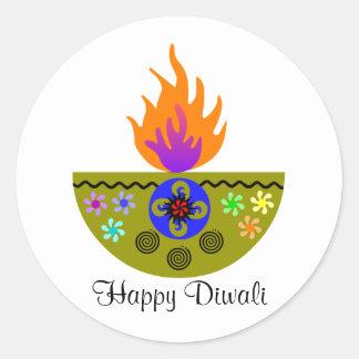 Adesivo Redondo Lâmpada colorida Diya de Diwali