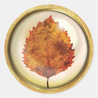 Adesivo Redondo Laranja e vermelho da folha da árvore do outono
