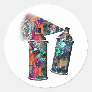 Adesivo Redondo Latas de pulverizador do Splatter dos grafites e