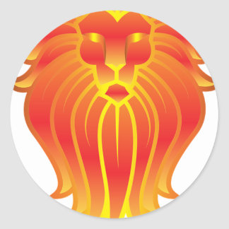 Adesivo Redondo Leão customizável do zodíaco de Leo do fogo