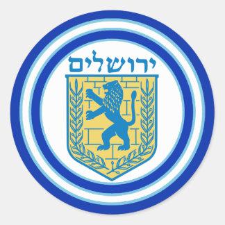 Adesivo Redondo Leão do hebraico de Jerusalem do emblema de Judah
