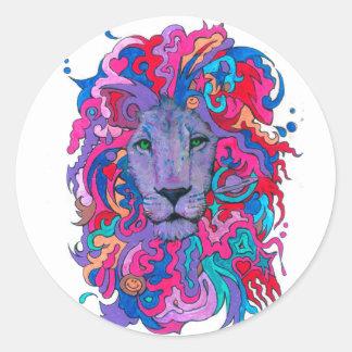 Adesivo Redondo Leão psicadélico roxo