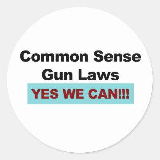 Adesivo Redondo Leis da arma do senso comum - sim nós podemos!