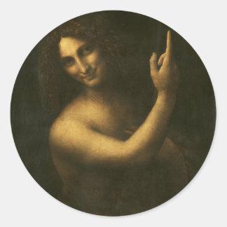 Adesivo Redondo Leonardo da Vinci - pintura de John The Baptist do