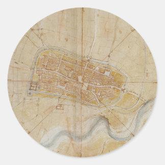 Adesivo Redondo Leonardo da Vinci - plano da pintura de Imola