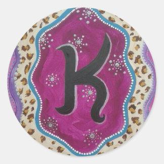 Adesivo Redondo Letra K do monograma