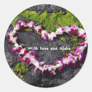 Adesivo Redondo Leus da flor nas rochas