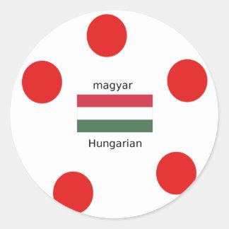Adesivo Redondo Língua de Hungria e design da bandeira