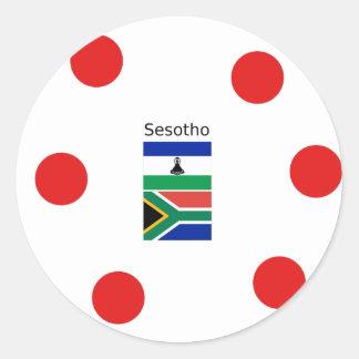 Adesivo Redondo Língua de Sesotho e bandeiras de Lesotho/África do