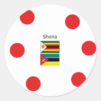 Adesivo Redondo Língua de Shona e bandeiras de Zimbabwe e de