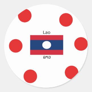 Adesivo Redondo Língua (Laotian) do Lao e bandeira de Laos