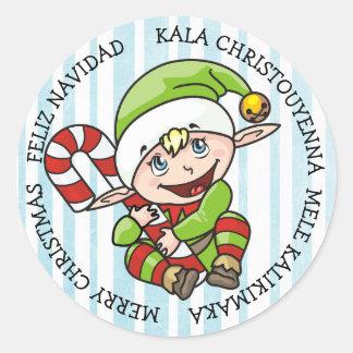 Adesivo Redondo Línguas diferentes do duende do Feliz Natal