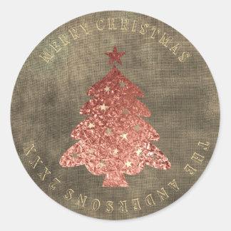 Adesivo Redondo Linho cor-de-rosa do ouro da árvore do Feliz Natal