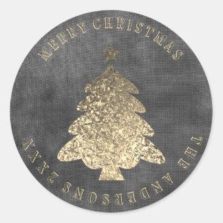 Adesivo Redondo Linho preto cinzento do ouro da árvore do Feliz