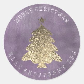 Adesivo Redondo Linho roxo cinzento do ouro da árvore do Feliz