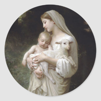 Adesivo Redondo L'Innocence William-Adolphe Bouguereau 1893