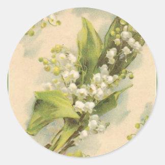 Adesivo Redondo Lírio do alfabeto da flor de Z do vale
